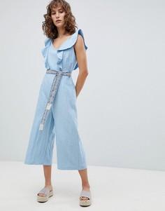 Комбинезон с широкими штанинами и поясом с узором в гобеленовом стиле Suncoo - Синий
