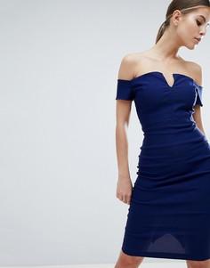 Платье-футляр миди с глубоким вырезом Vesper - Темно-синий