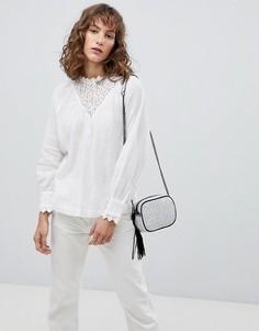Блузка с кружевной кокеткой Suncoo - Белый