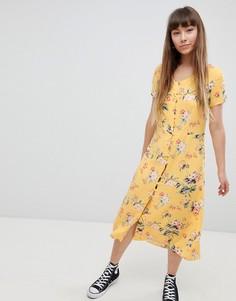 Чайное платье миди на пуговицах New Look - Желтый