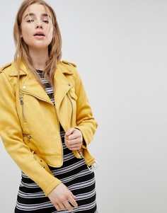 Байкерская куртка из искусственной замши Pimkie - Желтый