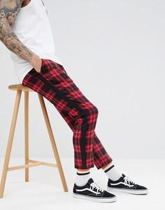 Красные брюки в клетку тартан с лентой boohooMAN - Красный
