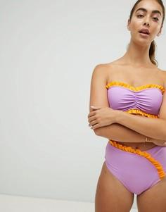 Плавки бикини с завышенной талией и оборками Vero Moda - Мульти