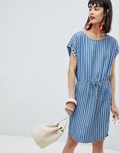 Джинсовое платье-туника в полоску Esprit - Мульти