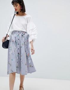 Юбка миди в полоску с цветочным принтом Esprit - Мульти