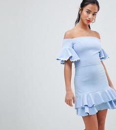 Короткое приталенное платье с открытыми плечами John Zack Petite - Синий