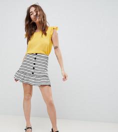 Мини-юбка в полоску с баской и пуговицами ASOS DESIGN Petite - Мульти