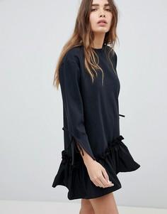 Платье мини с оборкой STYLENANDA - Черный
