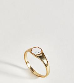 Кольцо из позолоченного серебра с камнем под мрамор ASOS DESIGN - Золотой