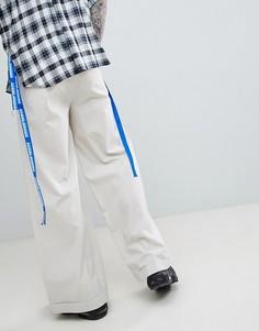 Светло-бежевые брюки с широкими штанинами D-Antidote - Бежевый