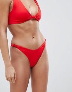 Красные бикини плавки-хипстеры с высоким вырезом по бедру и узелками ASOS DESIGN - Красный