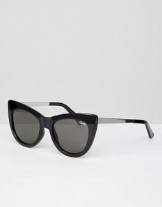 Черные солнцезащитные очки кошачий глаз Quay Australia Steal A Kiss - Черный