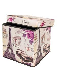 """Пуф складной с ящиком для хранения """"Эйфелева башня с машиной"""" EL Casa"""