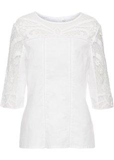 Блузка с кружевной вставкой (кремовый) Bonprix