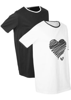 Удлиненная футболка (2 шт.) (белый/черный) Bonprix
