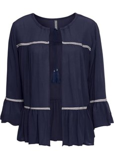 Блузка с лентами для завязывания (темно-синий) Bonprix