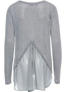 Пуловер с люрексом и шифоновой вставкой (серебристый металлик) Bonprix