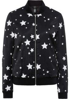 Куртка-бомбер со звездным принтом (черный/кремовый с рисунком) Bonprix