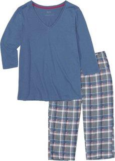 Пижама-капри (синий в клетку) Bonprix
