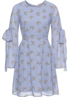 Платье из шифона с бабочками (серо-голубой/рисунок с бабочками) Bonprix