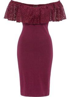 Трикотажное платье с декольте а-ля Кармен (красный) Bonprix