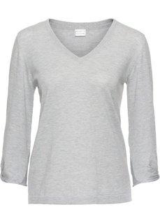 Пуловер с узлами на рукавах (светло-серый) Bonprix