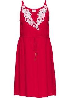 Платье с кружевной отделкой (клубничный/белый) Bonprix