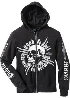 Куртка Slim Fit из трикотажа (черный с рисунком) Bonprix
