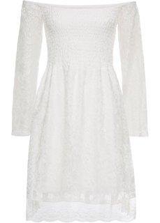 Платье из кружева с вырезом-кармен (кремовый) Bonprix