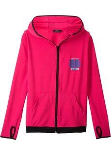 Куртка спортивная с капюшоном, вентилируемая и быстросохнущая (ярко-розовый гибискус) Bonprix