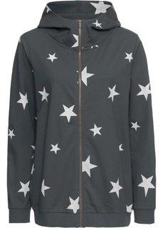 Куртка из трикотажа с капюшоном (антрацитовый/белый с рисунком) Bonprix
