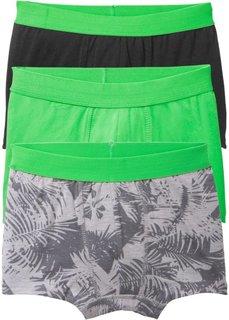 Трусы-боксеры (3 шт.) (светло-серый меланж/черный/ярко-зеленый) Bonprix