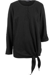Блузка из вискозы с длинным рукавом (черный) Bonprix