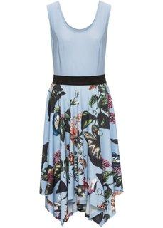 Платье с принтованной юбкой (нежно-голубой) Bonprix