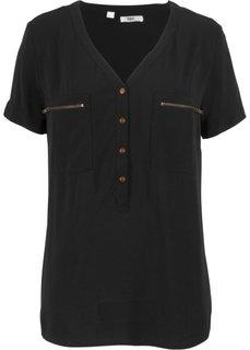 Блузка с коротким рукавом (черный) Bonprix