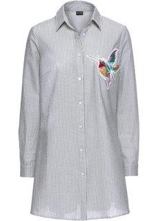 Блузка в полоску с аппликацией колибри (серый/белый) Bonprix