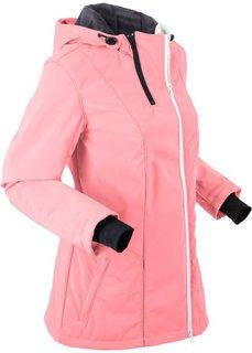 Куртка софтшелл с капюшоном и флисовой подкладкой (лососевый неон) Bonprix