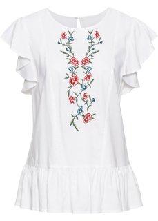 Блузка с вышивкой и воланами (белый) Bonprix