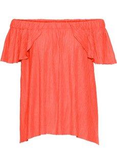 Футболка с вырезом-кармен (оранжевый неон) Bonprix