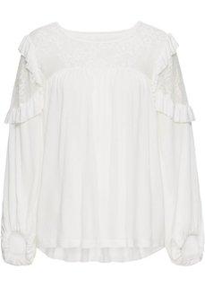 Рубашка с кружевом (белый) Bonprix