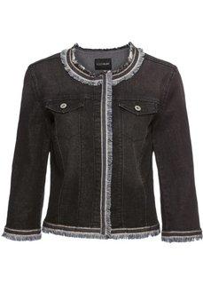 Куртка джинсовая с бахромой (черный деним) Bonprix