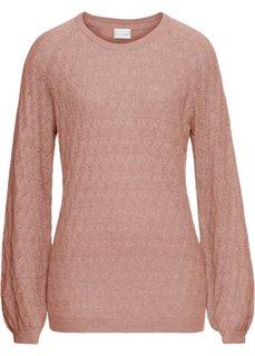 Пуловер с ажурным узором (винтажно-розовый) Bonprix