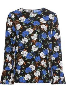 Блузка с воланами (черный в цветочек) Bonprix
