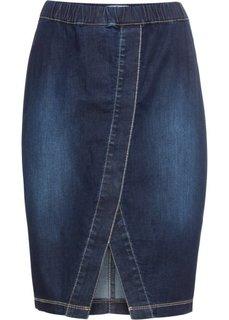 Юбка джинсовая на эластичном поясе, нежный деним (темно-синий) Bonprix