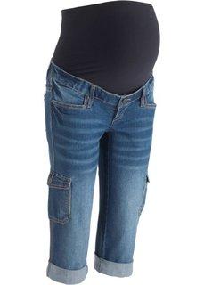 Джинсы-капри в стиле карго для беременных (синий «потертый») Bonprix