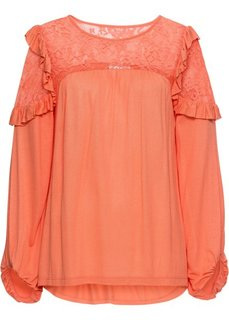 Рубашка с кружевом (мандариновый) Bonprix
