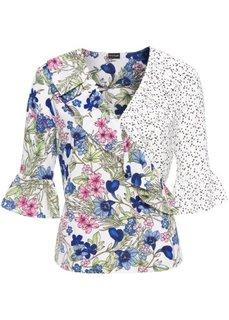 Блузка с запахом и воланами (белый/цветной с узором) Bonprix