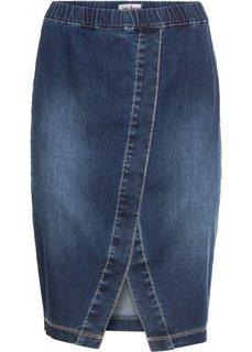 Юбка джинсовая на эластичном поясе, нежный деним (синий) Bonprix
