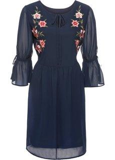 Платье с вышивкой и воланом (темно-синий) Bonprix