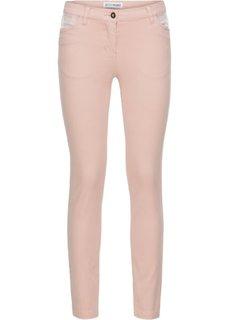 Брюки-дудочки стрейчевые с пайетками (винтажно-розовый) Bonprix